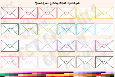 Love Letters Mail Clipart, Envelope with heart clipart set