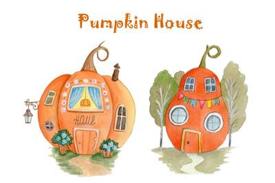 Pumpkin House. Watercolor hand drawn art.