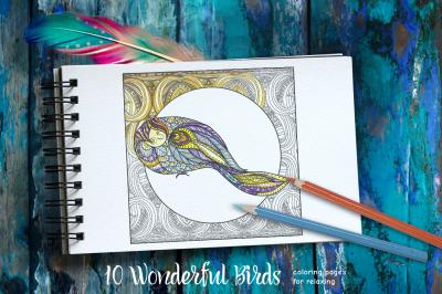 Set of 10 Decorative Patterned birds