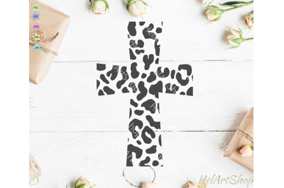 Leopard Print Cross SVG