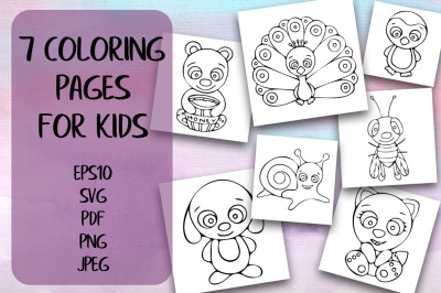 7 Coloring Pages For Kids. Hand-drawn Animals.