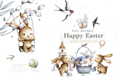 Happy Easter Spring Watercolor Set Cute bunnies