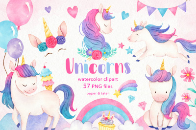 Watercolor Unicorns Clipart Graphics