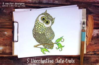 5 Decorative Cute Owls