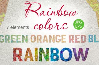 Rainbow color zentangle design words