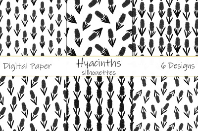 Hyacinths silhouettes pattern. Flowers silhouettes pattern