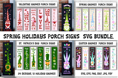 Porch sign bundle. Spring Holidays gnomes SVG designs.