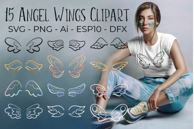 Angel Wings SVG PNG and Vector Clipart for Feminine Design