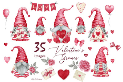 Valentine's day Gnomes girls/Gnomes boys Red Hearts Clipart PNG Waterc