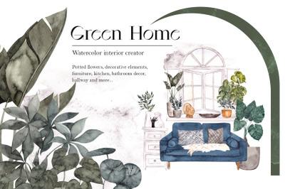 Green Home. Watercolor interior creator