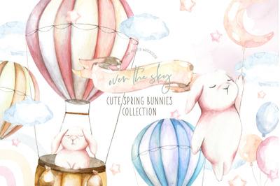 Spring Easter Bunnies Watercolor clipart. Hot air balloon flying bunny