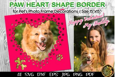 Paw Print Heart Photo Border Frame SVG