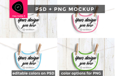 Baby Bib on Clothesline | Photoshop + PNG Mock Up