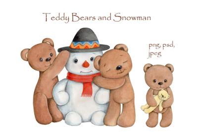 Teddy Bears and Snowman.