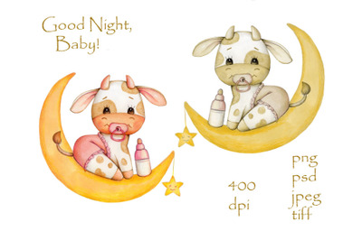 Baby Bull on Moon. Watercolor art. Cute illustration for children.