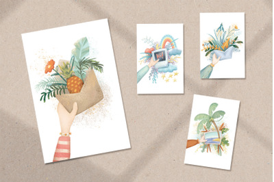 Woman Hand And Gift Illustration. Silent Greeting Card Set