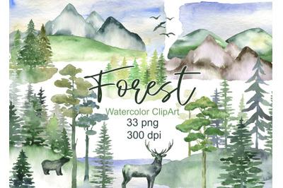 Watercolor forest clipart landscape clip art tree mountains hills natu