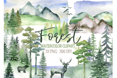 Watercolor forest clipart landscape clip art tree mountains hills natu