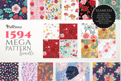 Digital Paper Bundle, Watercolor Floral Digital Paper, Seamless Digita