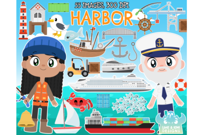 Harbor/Harbour Clipart - Lime and Kiwi Designs