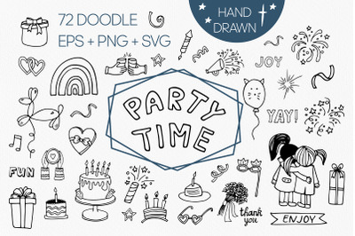 Big birthday clipart set. Party time svg, eps, png