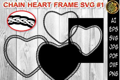 Chain Heart Border Frame SVG Cut Files 1