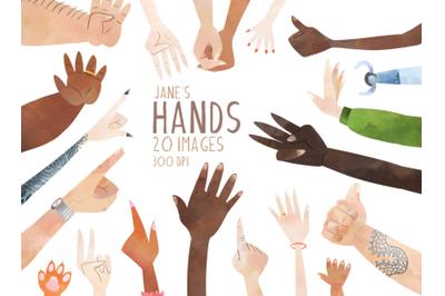 Watercolor Hands Clipart