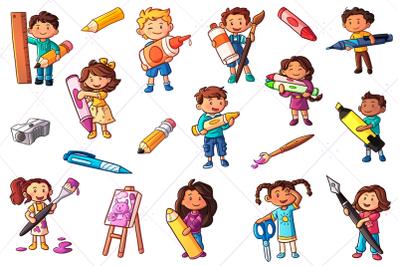 Kids with Big School Supplies Clip Art