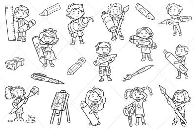 Kids with Big School Supplies Digital Stamps