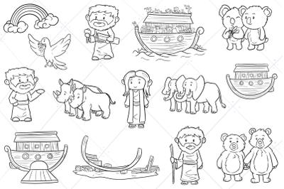 Noah's Ark Bible Story Digital Stamps