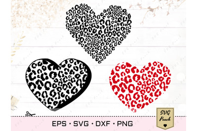 Leopard heart cut file SVG set