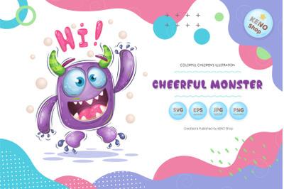 Cheerful cartoon monster.