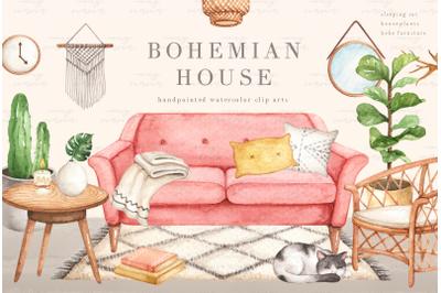 Bohemian House Watercolor Clip Arts