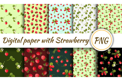Digital paper with strawberries. Seamless pattern with strawberry ornament