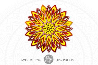 3d sunflower mandala&2C; 3d mandala SVG&2C; 3d papercraft template