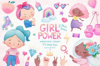 Girl Power Watercolor Clipart, Strong Women PNG Graphics