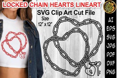 Locked Chain Hearts Line Art Design SVG