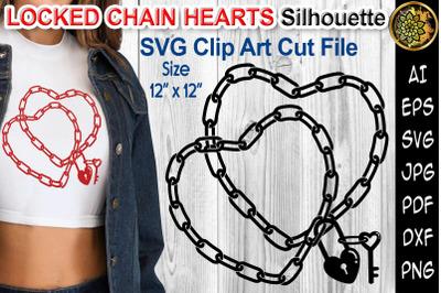 Locked Chain Hearts Silhouette Design SVG