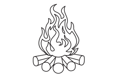 Camping Bonfire Outline Icon