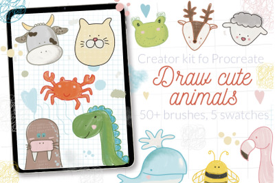 Cute animals Procreate stamps creator