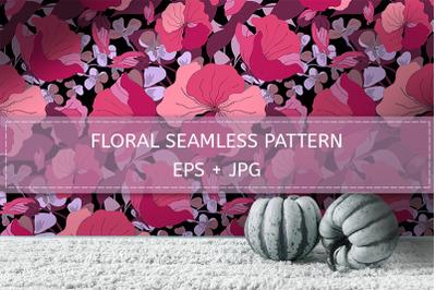 Rich pink-magenta-purple floral pattern.