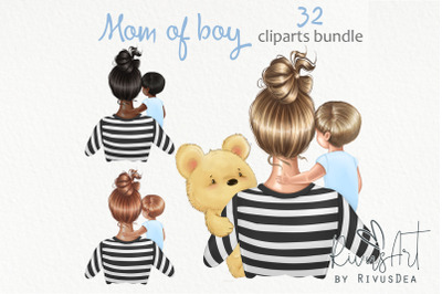 Mothers Day clipart. Mother son clip art. Mom of boy drawings. Childre