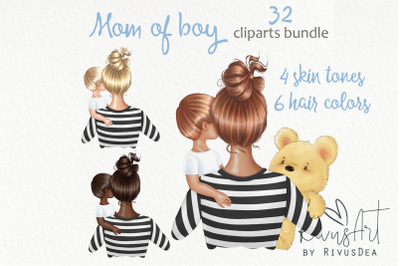 Mothers Day clipart. Mother son clip art. Mom of toddler boy planner s