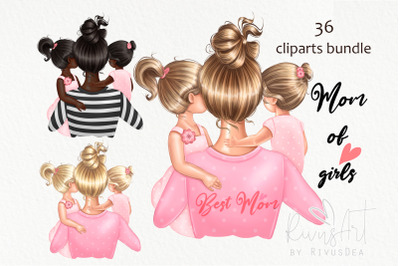 Mothers Day clipart. Mother daughter clip art. Mom of girls planner st