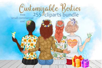 Spring besties. Best friends customizable clipart. Spring BFF. Custom