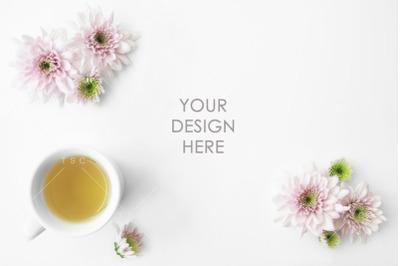 Pink Flowers & Tea Stock Photo