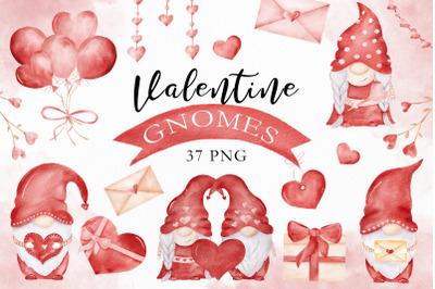 Watercolor Valentine Gnomes & Love Clipart Set