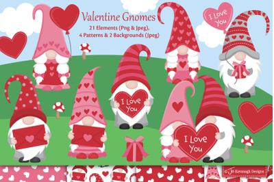 Valentine gnome clipart, Gnome clipart C50