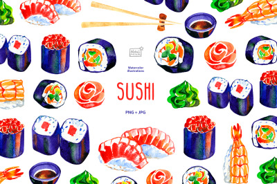 Watercolor sushi PNG clipart