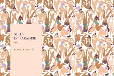 Girls in Paradise. Jungle seamless pattern set